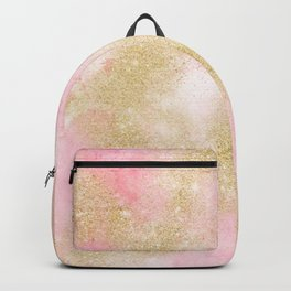 Pink watercolor gold glitter dust pattern Backpack