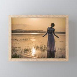 Topless Female Model At Sunset Framed Mini Art Print