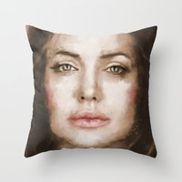 angelina jolie Throw Pillows featuring Jolie by Dnzsea