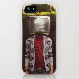 This TV haze sucks me through. I watch the world from the inside iPhone Case