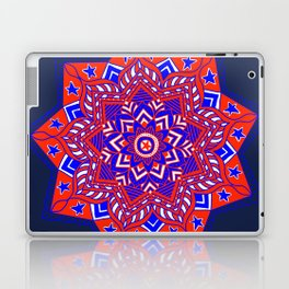 Red White and Blue Mandala star swirl Laptop & iPad Skin