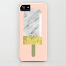 Carrara Italian Marble with Gold Popsicle iPhone Case