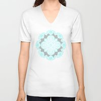 lace V-neck T-shirts featuring Teal and Aqua Lace Mandala on Grey by micklyn