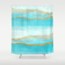 Gold and blue sea Shower Curtain