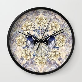 Magpies And Magnolia Pattern Wall Clock