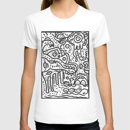 Cool Graffiti Art Doodle Black and White Monsters Scene T-shirt