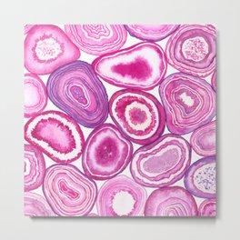 Pink agate watercolor Metal Print