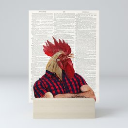 Rooster Art Print, vintage dictionary page book art print, chicken art print, funny print Mini Art Print