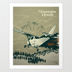 Mountains Hide in Clouds II - Tan Art Print