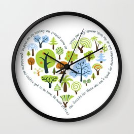 Protect the Forests: Love Trees Wall Clock