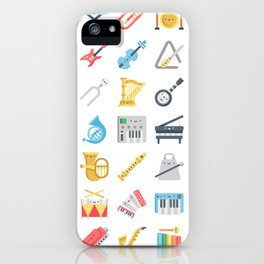 CUTE MUSICAL INSTRUMENTS PATTERN iPhone Case