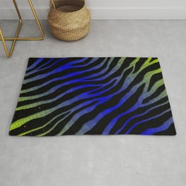Ripped SpaceTime Stripes - Lime/Blue Rug