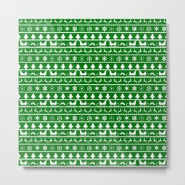 Green & White Nordic Ugly Sweater Christmas Pattern Metal Print
