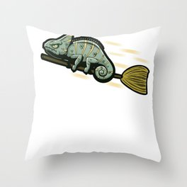 Funny Chameleon On A Flying Broom Throw Pillow