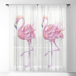Fancy Pink Flamingo Sheer Curtain