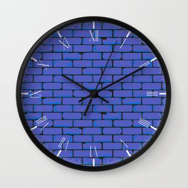 Wide Blue Wall Background Wall Clock