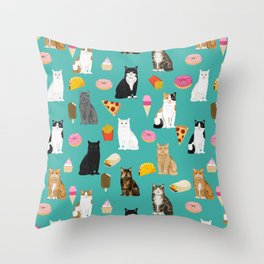 Cat breeds junk foods ice cream pizza tacos donuts purritos feline fans gifts Throw Pillow