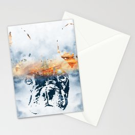 French bulldog and landscape abstract design Stationery Cards