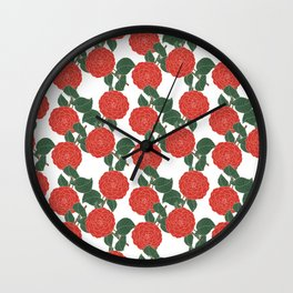 Red Dahlia Wall Clock