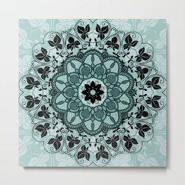 Opulent Blue & Black Luxury Floral Design Metal Print