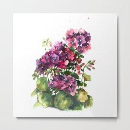 Watercolor geranium red pink flowers Metal Print