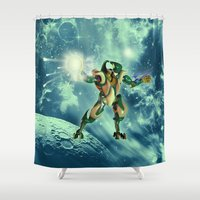 robot Shower Curtains featuring Robot  by nicky2342