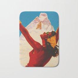 Aosta Valley Switzerland - Vintage Snow Skiing Travel Bath Mat