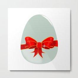 Egg and Ribbon Metal Print