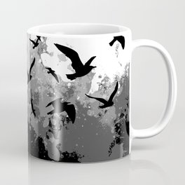Abstract Black and White birds collage Coffee Mug