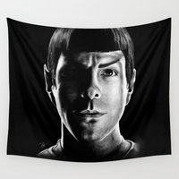 spock Wall Tapestries featuring Spock by Sarah Riebe