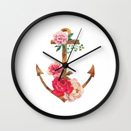 floral rusted anchor Wall Clock