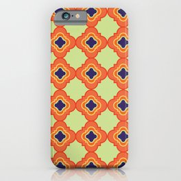 Quatrefoil - orange and blue iPhone Case