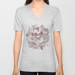 Skeleton & White Roses Unisex V-Neck