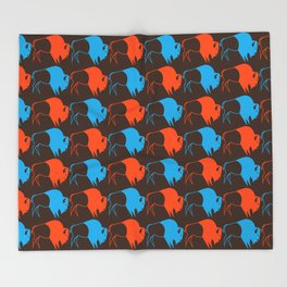 Orange Blue Buffalo Spirit Throw Blanket