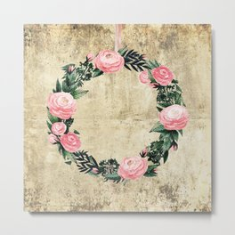 Wreath #Rose Flowers #Royal collection Metal Print