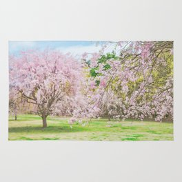 cherry blossoms blooming in a fantastic garden Rug