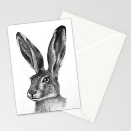 Cute Hare portrait G126 Stationery Cards