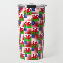Mix of flag : USA and Wales Travel Mug