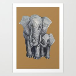 Elephant Parent and Calf ( clay) Art Print