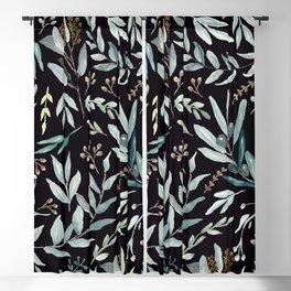 Black Eucalyptus Pattern Blackout Curtain