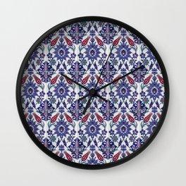 Vintage blue ceramic tiles wall decoration Wall Clock
