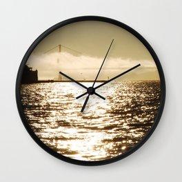 Golden Golden Gate bridge Wall Clock
