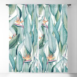 Back to Paradise Island, Bird of Paradise Floral Illustration, Vintage Botanical Nature Painting Blackout Curtain