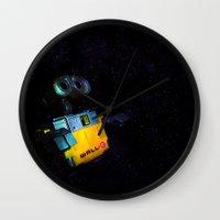 wall e Wall Clocks featuring Wall-E by Tanis Ketra