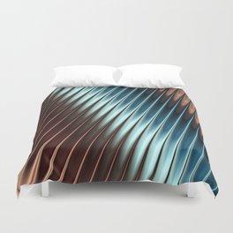 Stripey Pins Teal & Taupe - Fractal Art Duvet Cover