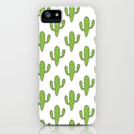 Hand painted green black white floral cactus iPhone Case