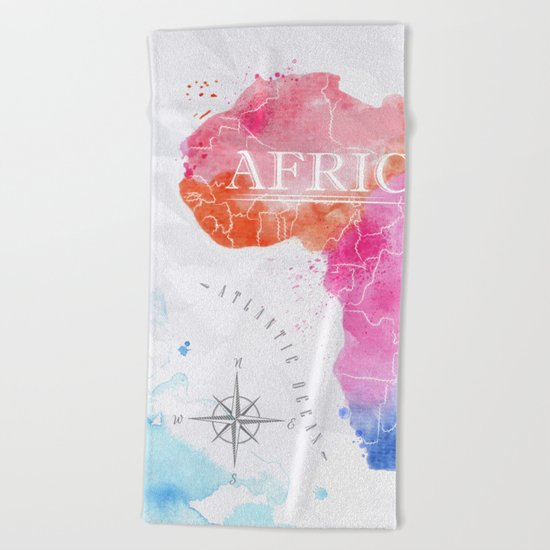Color Africa Map Beach Towel