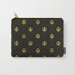 Gold Khanda symbol pattern Carry-All Pouch