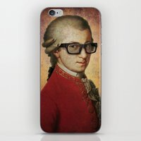 mozart iPhone & iPod Skins featuring Funny Hipster Mozart by Paul Stickland for StrangeStore