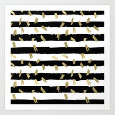 Gold Black and White Stripes Art Print